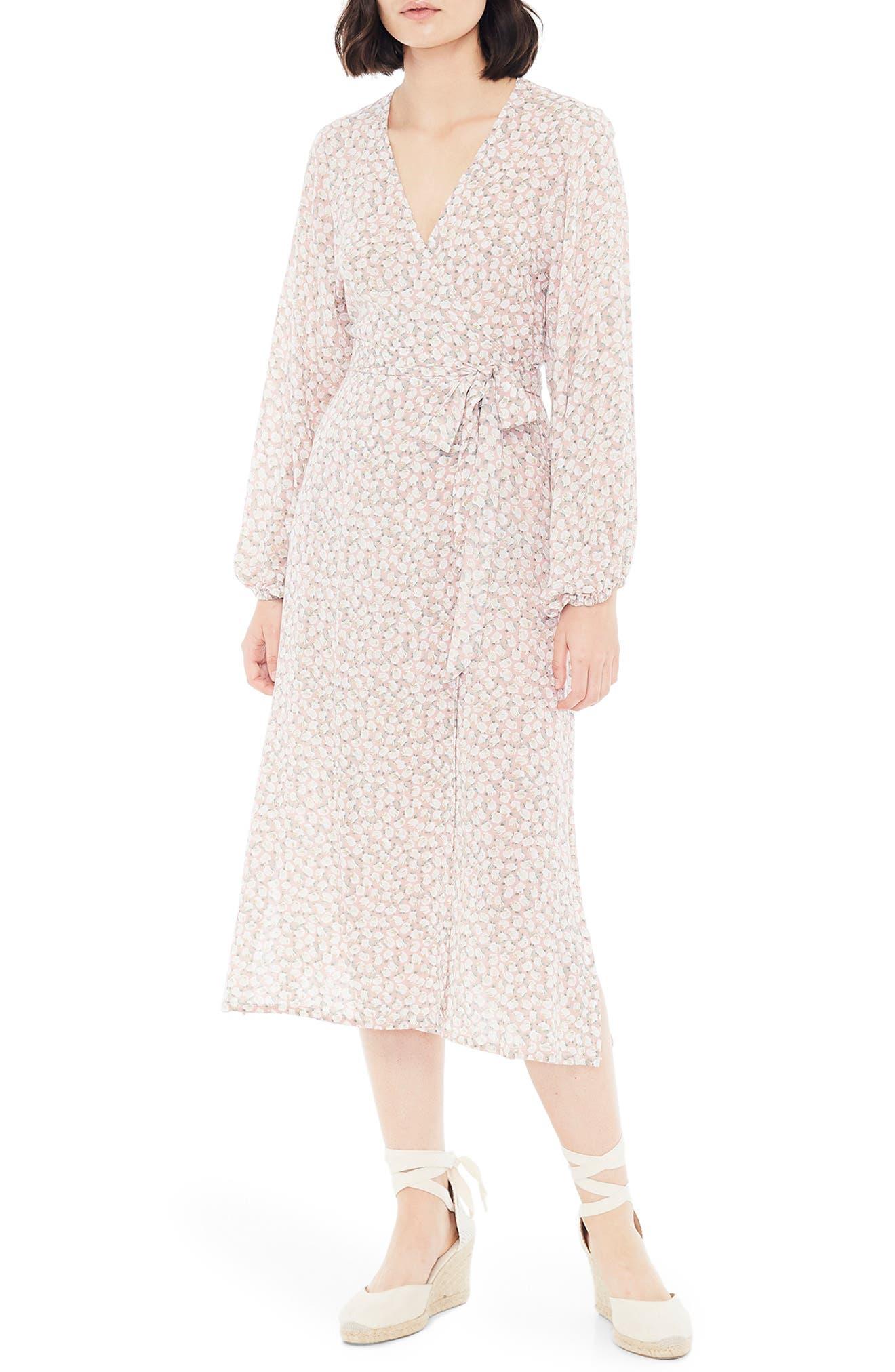 Faithfull The Brand Le Figaro Floral Long Sleeve Midi Wrap Dress, Pink