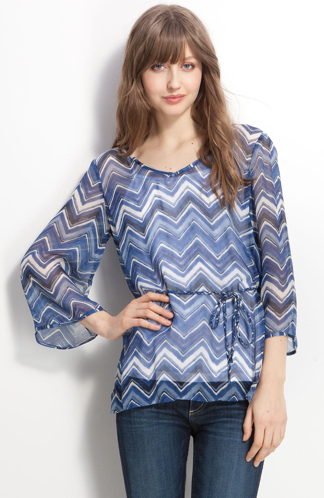 'Marley Chevron' Silk Tunic, Main, color, 400