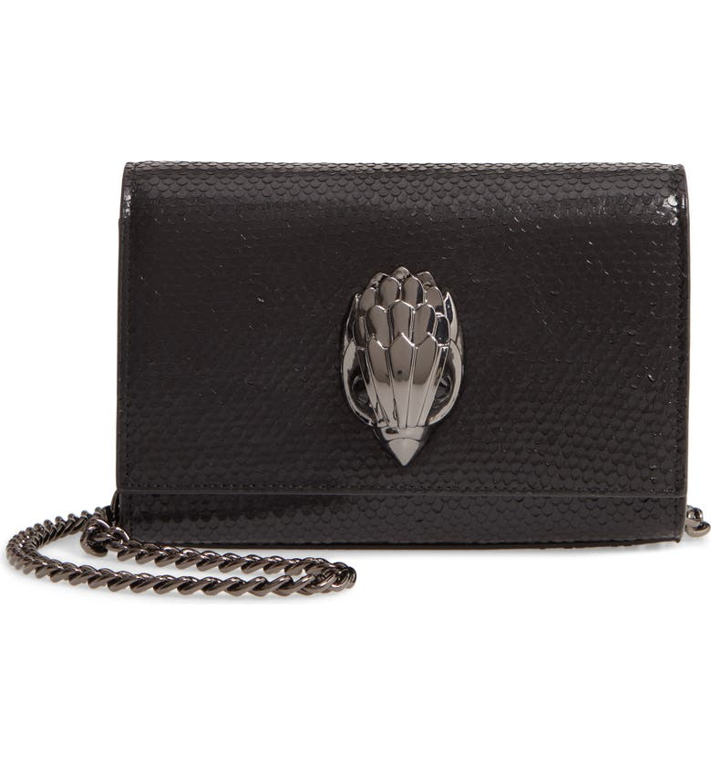 KURT GEIGER LONDON Small Shoreditch Snake Embossed Leather Clutch, Main, color, BLACK