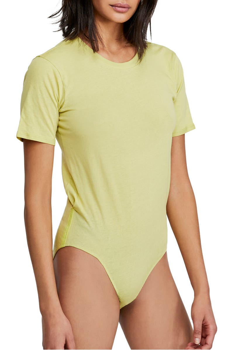 FREE PEOPLE In My Tee Bodysuit, Main, color, LIGHT GREEN
