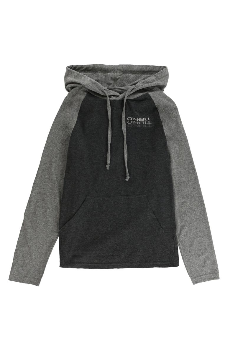 O'NEILL Fields Logo Raglan Sleeve Hoodie, Main, color, BLACK