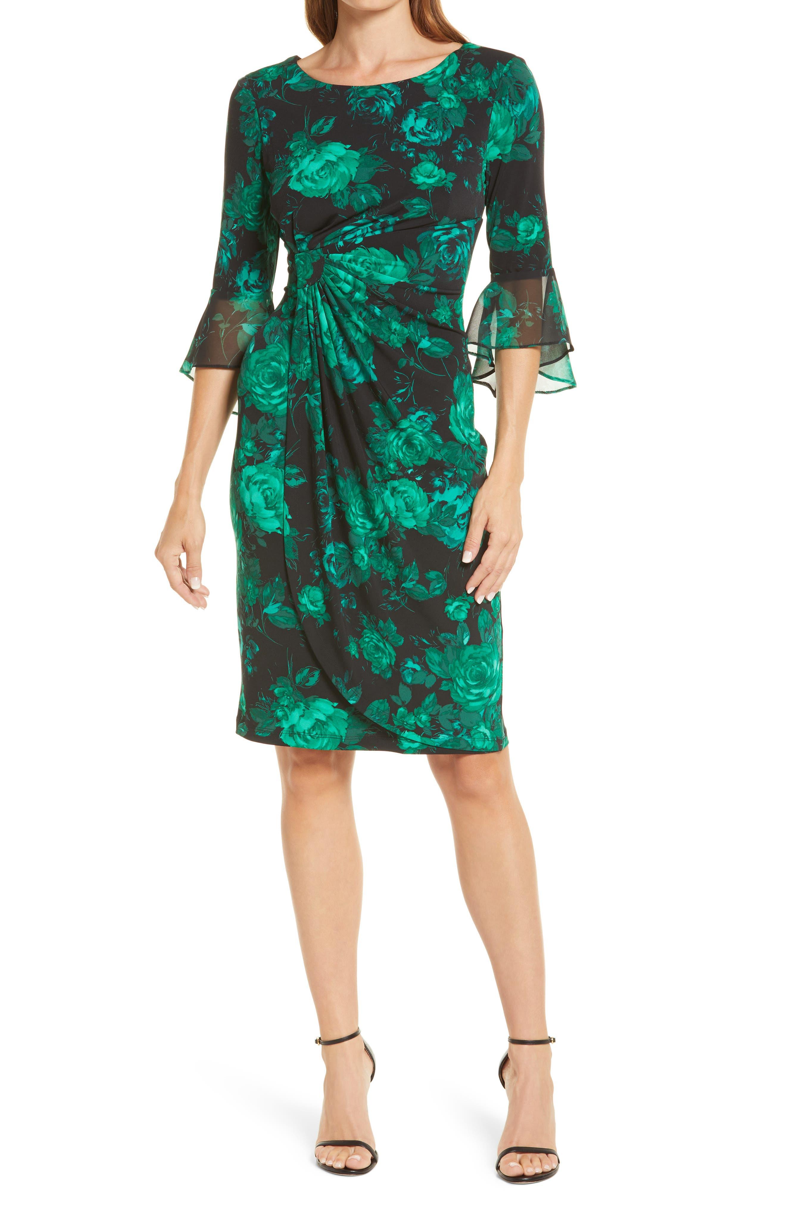 Floral Chiffon Bell Sleeve Dress