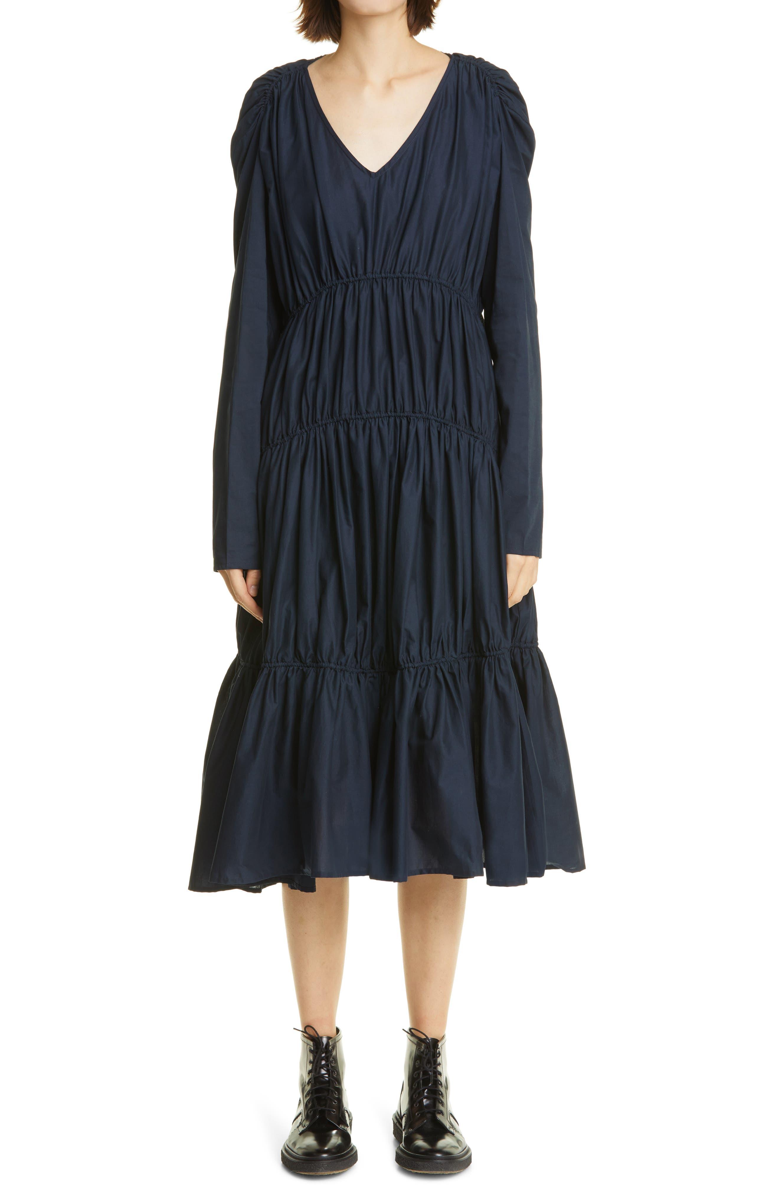 Ophelia Long Sleeve Cotton Poplin Dress