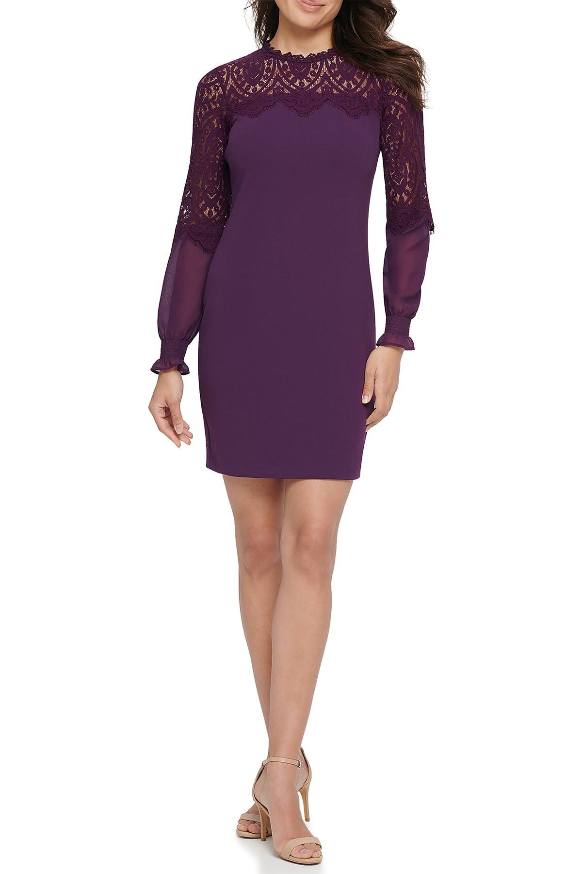 Image of Kensie Scalloped Lace Long Sleeve Sheath Dress