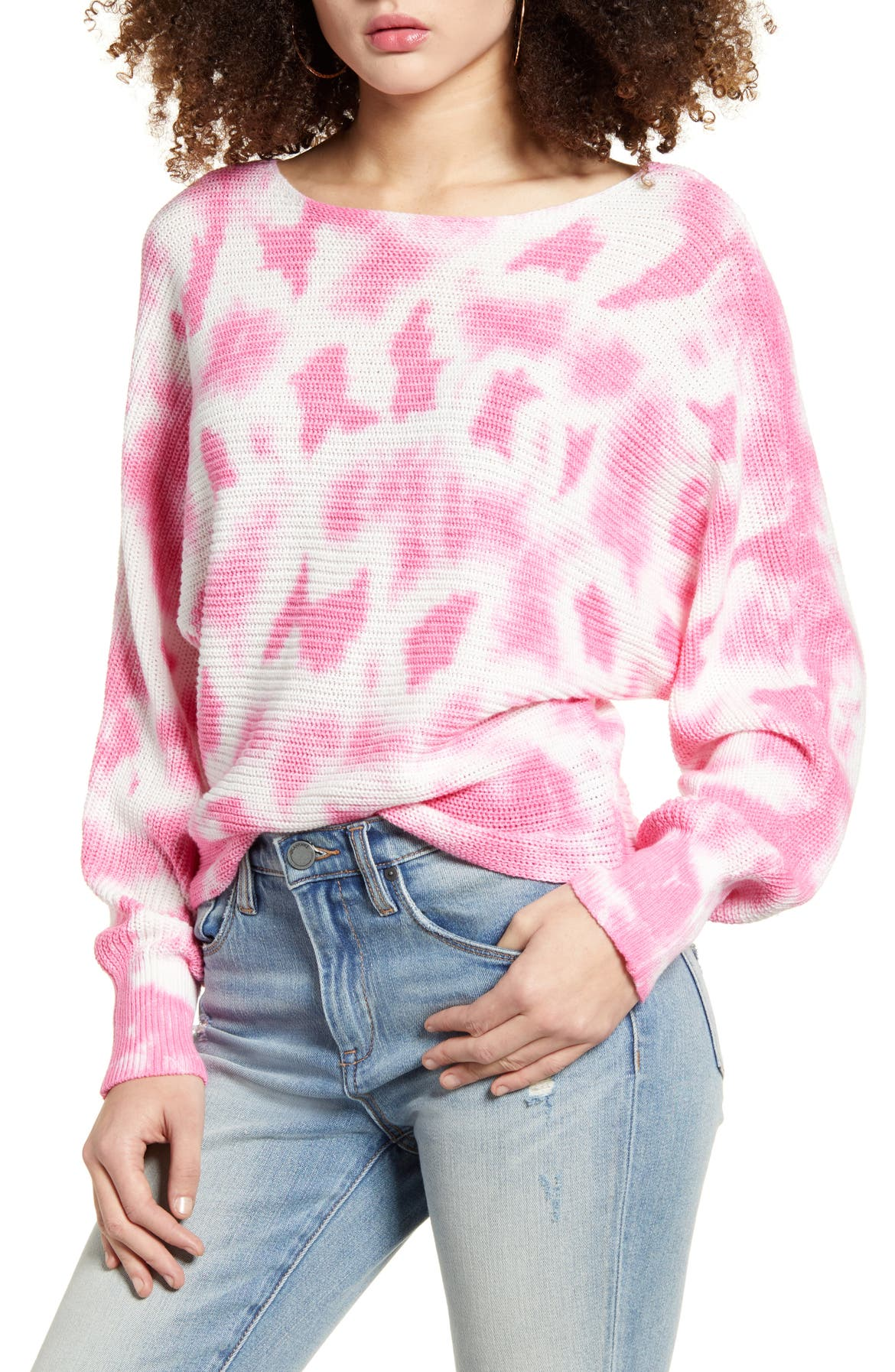 BP. Tie Dye Sweater, Main, color, PINK AURORA