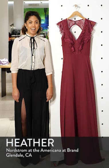 Lace V-Neck Chiffon Evening Dress, sales video thumbnail