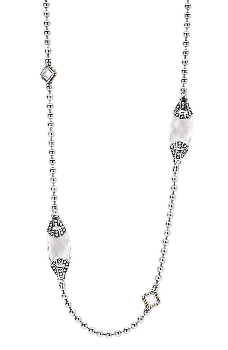 LAGOS 'Caviar Color' Long Semiprecious Stone Station Necklace, Main, color, WHITE TOPAZ