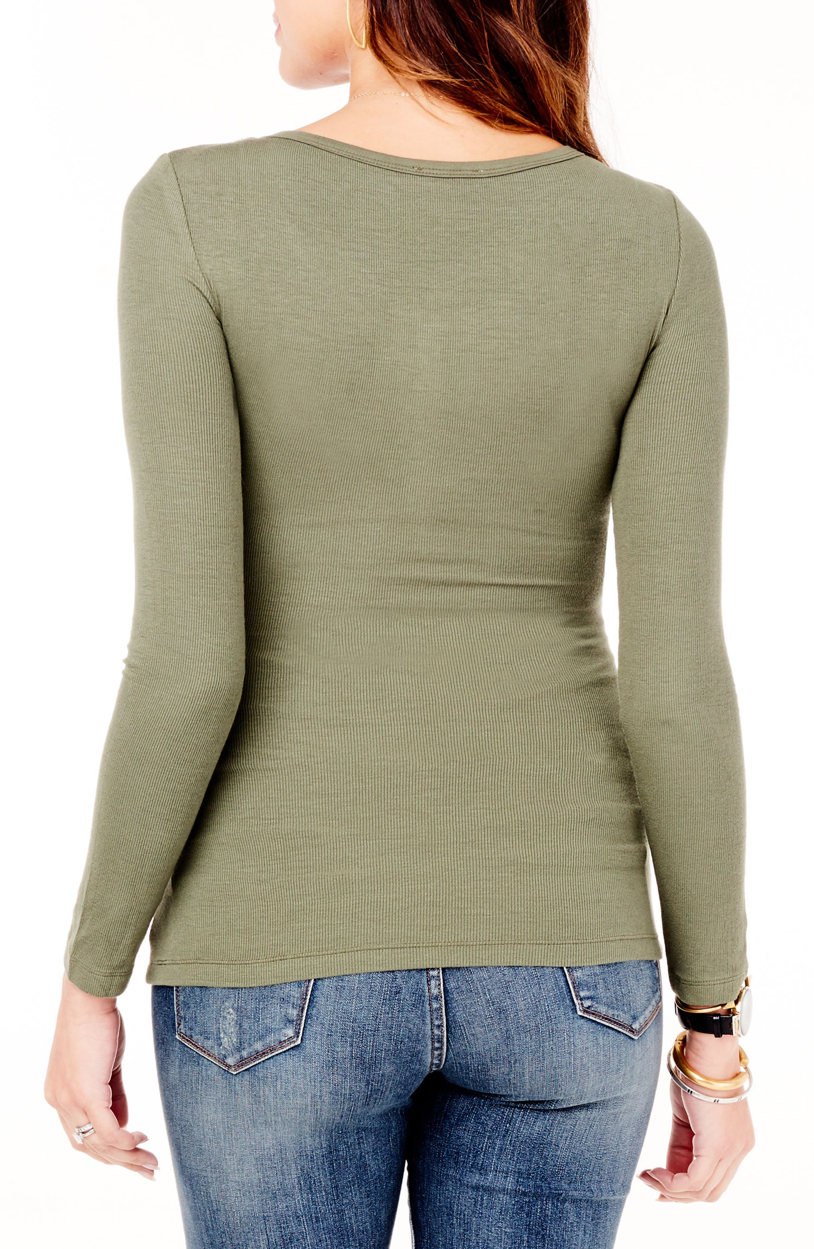 ,                             Ribbed Maternity/Nursing Henley Tee,                             Alternate thumbnail 2, color,                             OLIVE