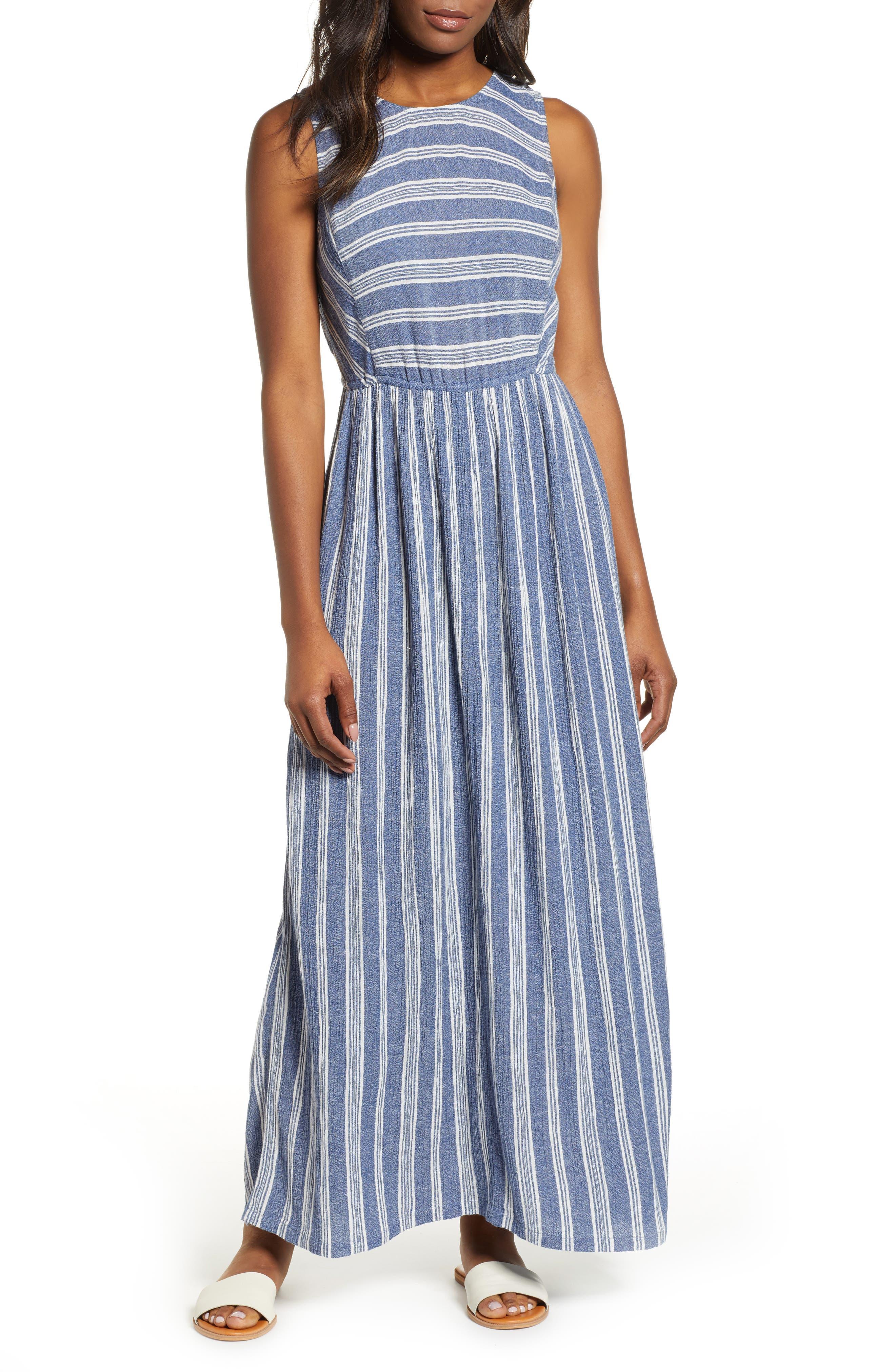 Caslon Smocked Back Maxi Dress, Blue