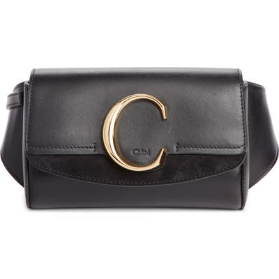 Chloe C Leather Convertible Belt Bag - Black