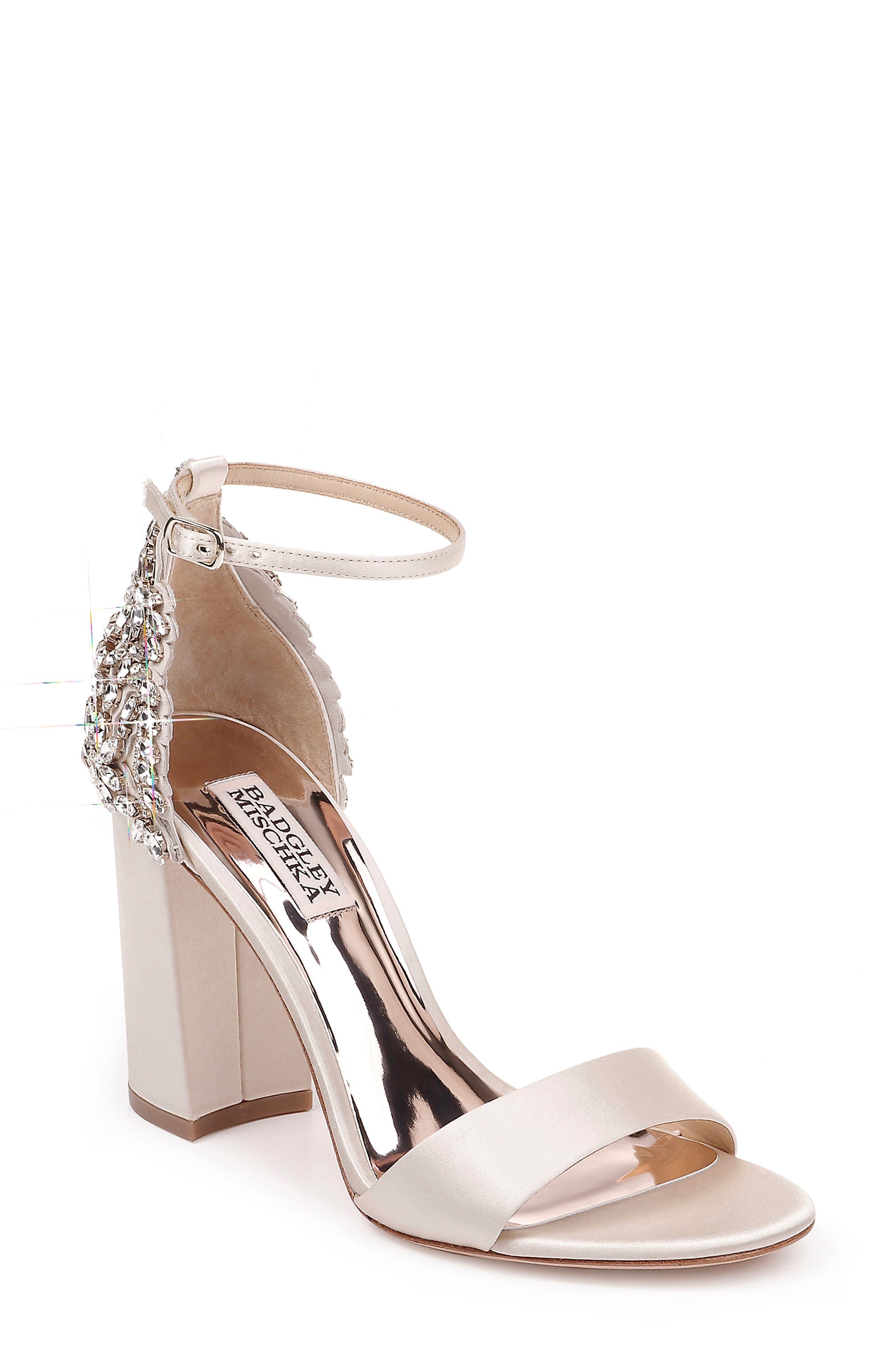 Badgley Mischka Ainsley Crystal Embellished Ankle Strap Sandal (Women)