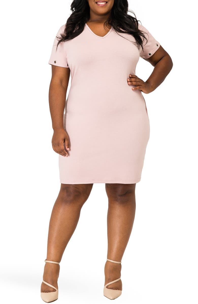 POETIC JUSTICE Evelyn Grommet Detail Tulip Hem Dress, Main, color, MAUVE