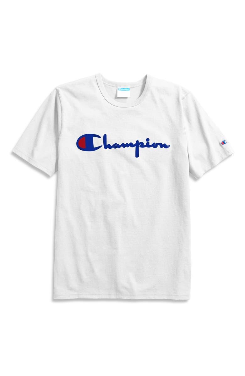 CHAMPION Heritage Script Logo T-Shirt, Main, color, WHITE