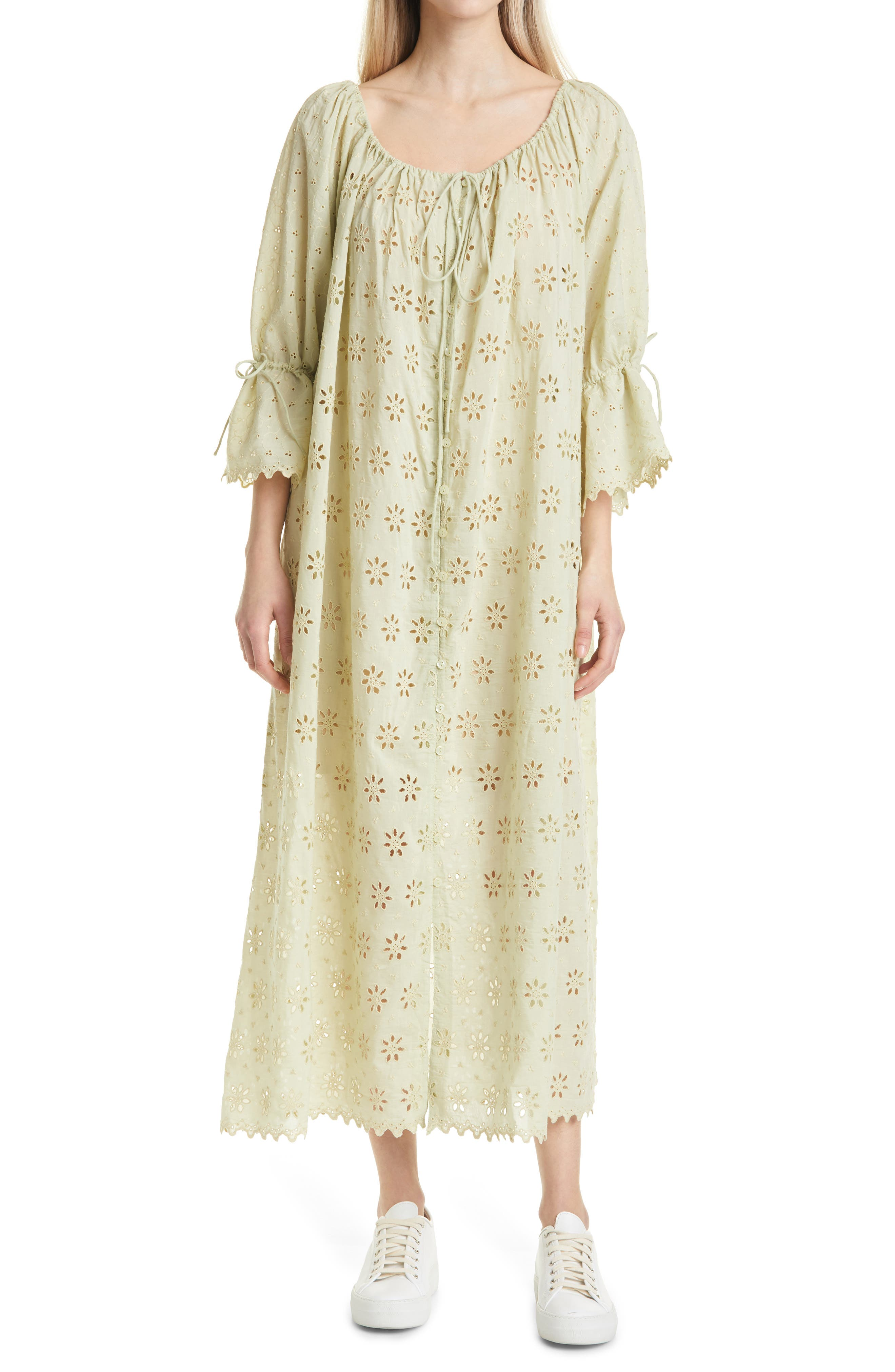 Broderie Anglaise Shift Midi Dress