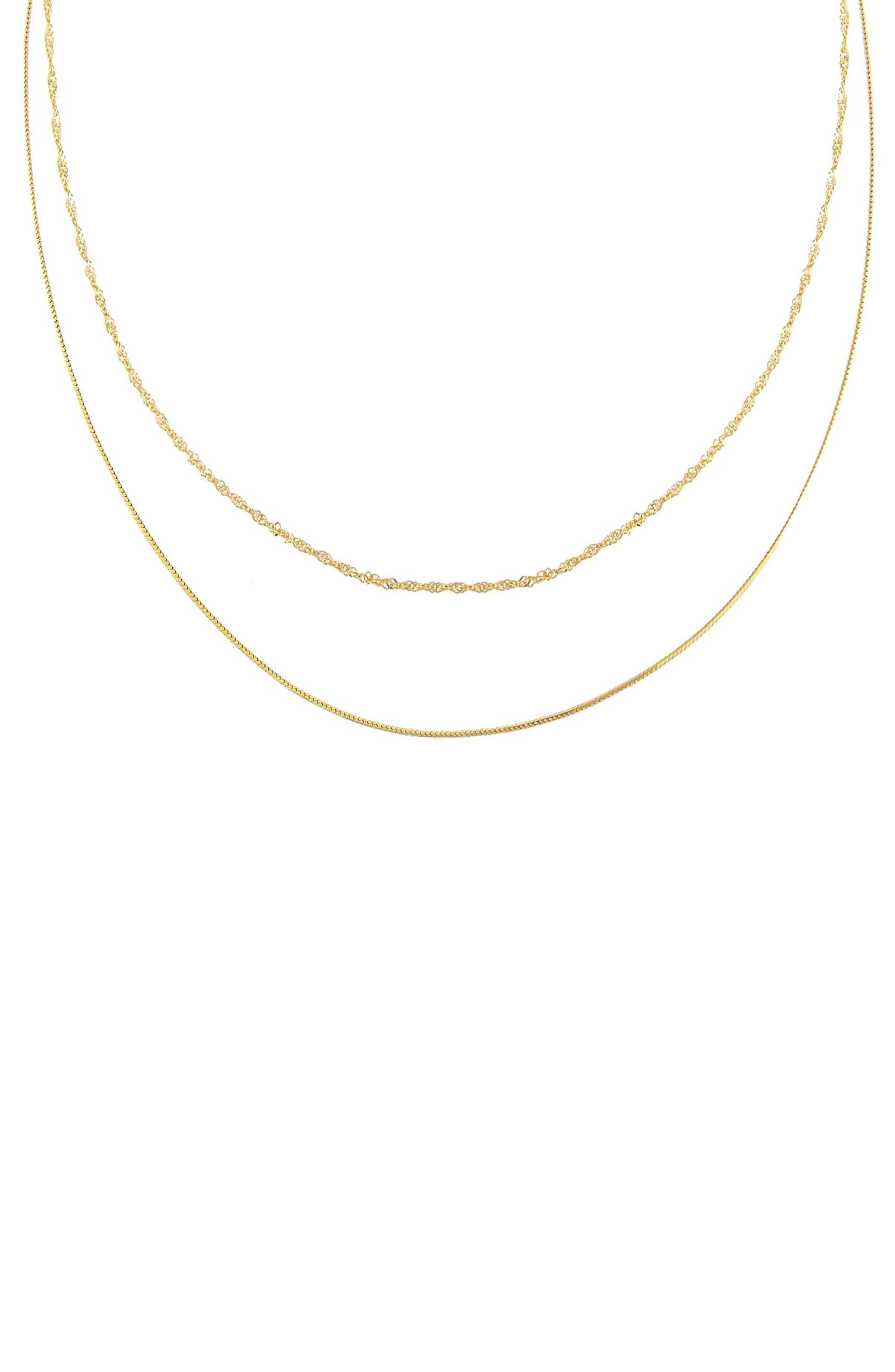 Women's Adina's Jewels Mixed Double Chain Necklace