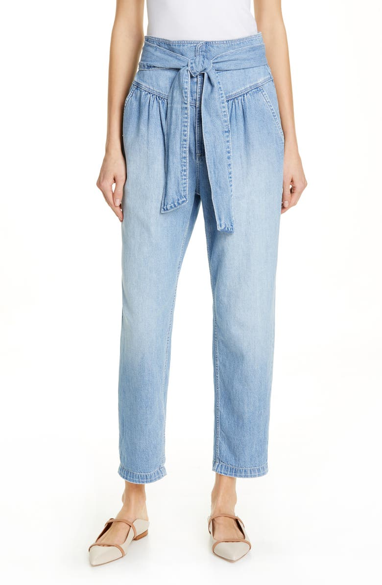 LA VIE REBECCA TAYLOR Drapey Tie Waist Nonstretch Cotton Jeans, Main, color, 400