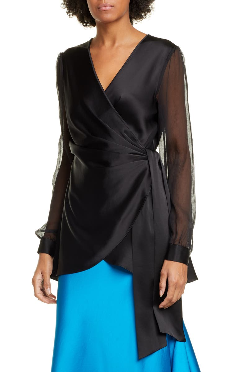 DVF Klee Long Sleeve Satin Wrap Blouse, Main, color, BLACK