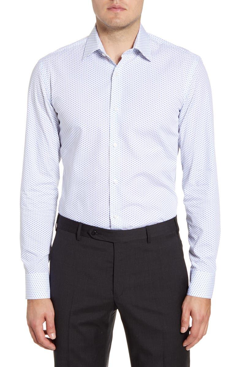 BOSS Slim Fit Geometric Dress Shirt, Main, color, LIGHT PASTEL