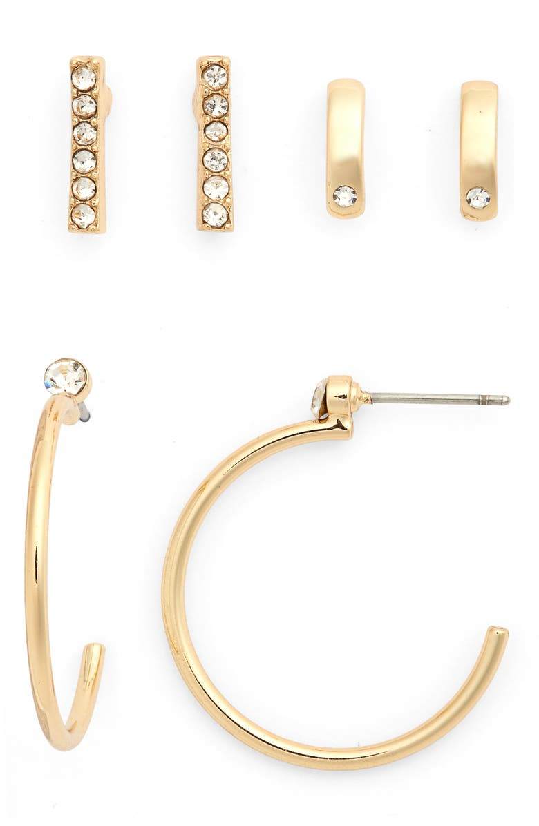 HALOGEN<SUP>®</SUP> Set of 3 Earrings, Main, color, GOLD- CLEAR