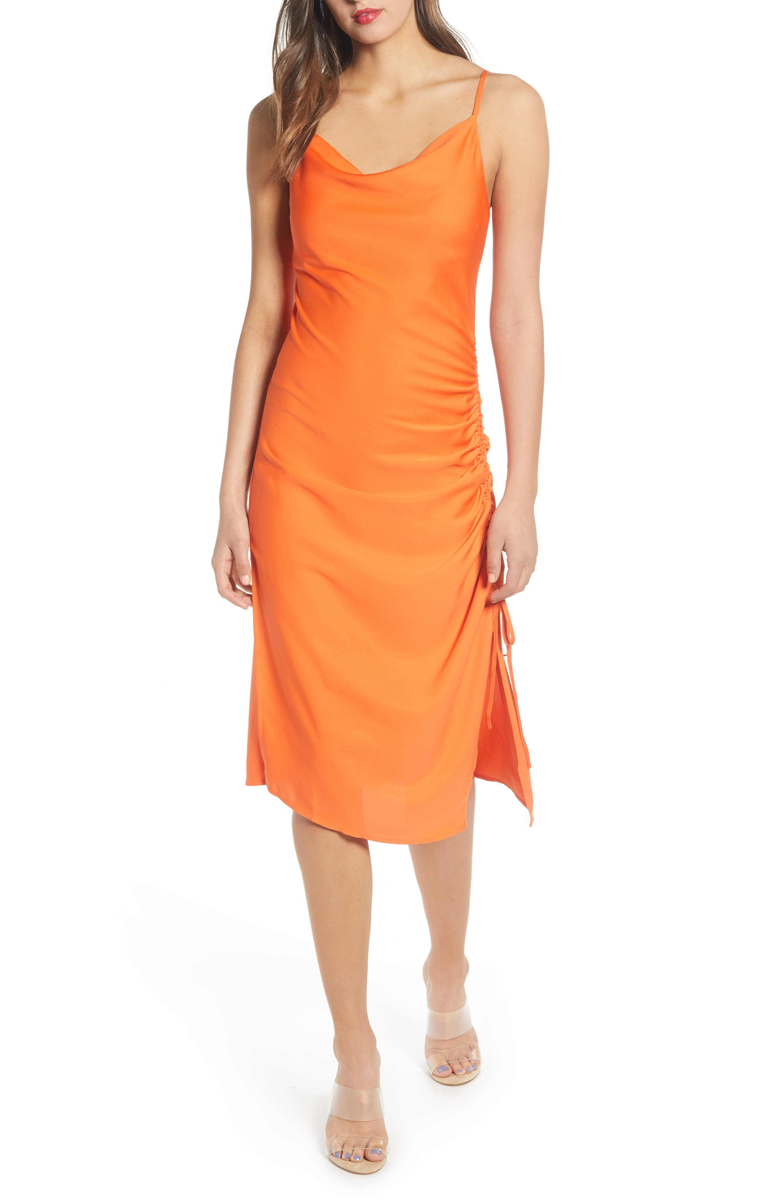 ,                             Ruched Slipdress,                             Main thumbnail 1, color,                             TANGERINE