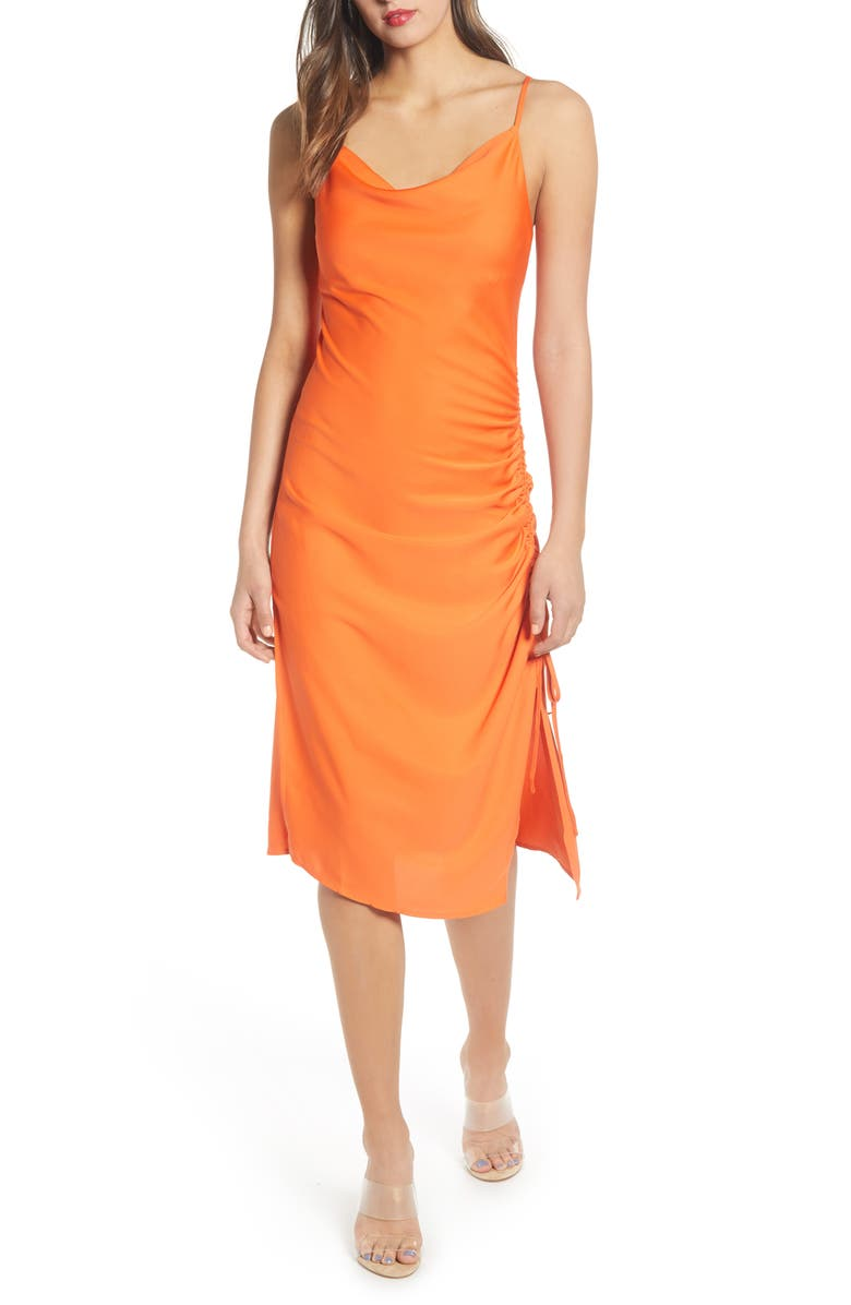J.O.A. Ruched Slipdress, Main, color, TANGERINE