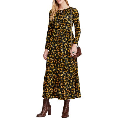 Free People Tiers Of Joy Long Sleeve Prairie Dress, Black