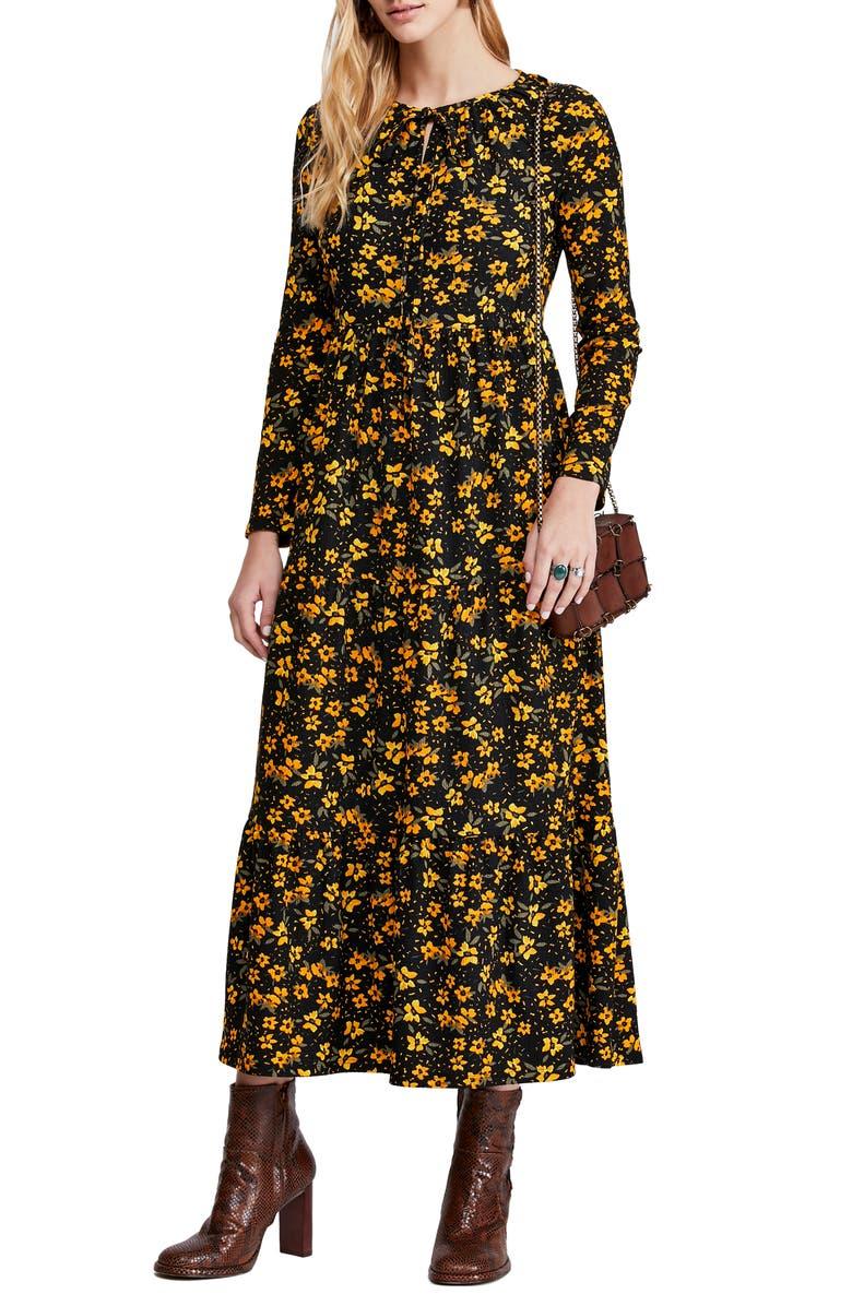 FREE PEOPLE Tiers of Joy Long Sleeve Prairie Dress, Main, color, BLACK COMBO