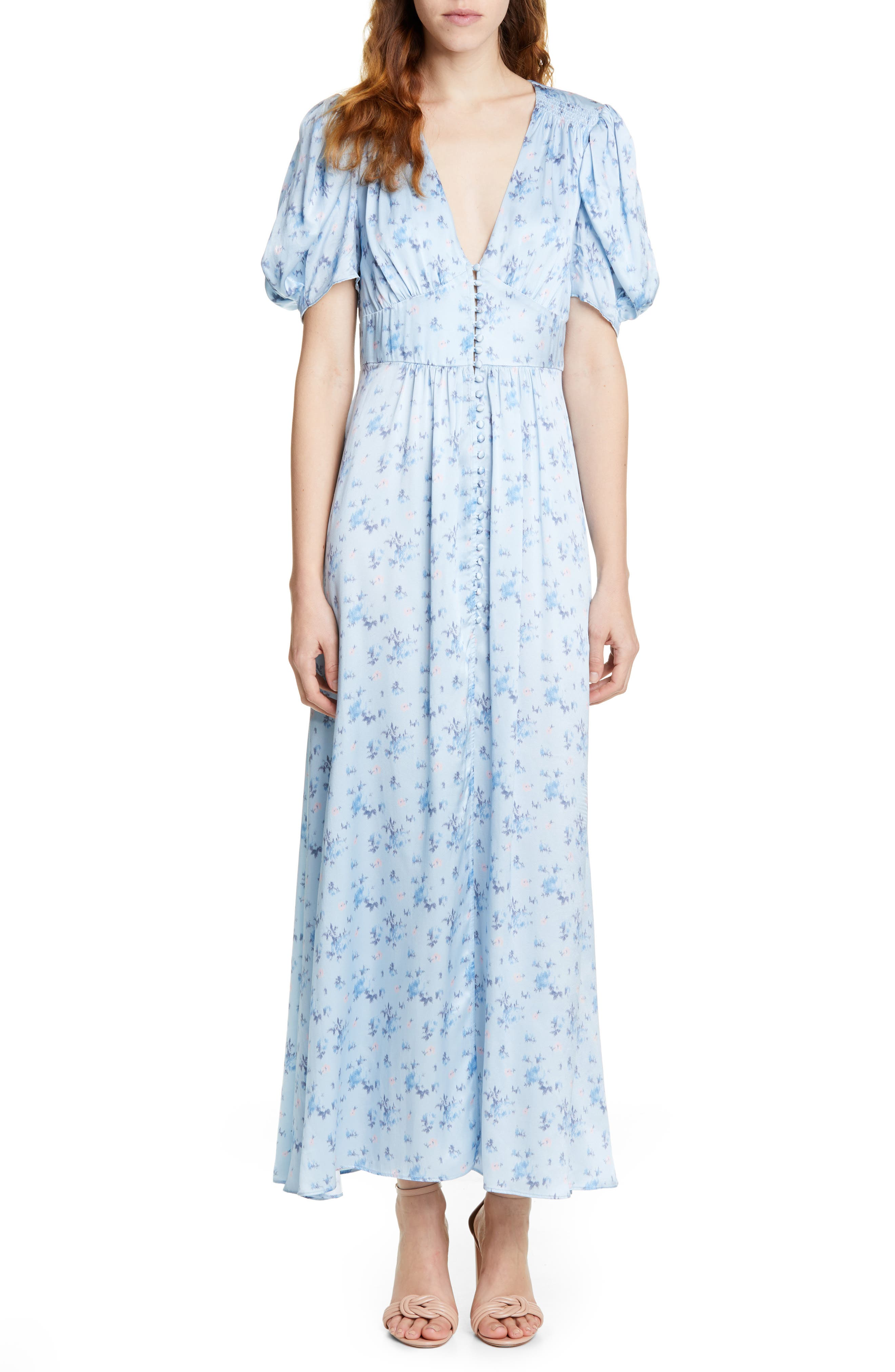 Loveshackfancy Stacy Floral Print Silk Maxi Dress, Blue