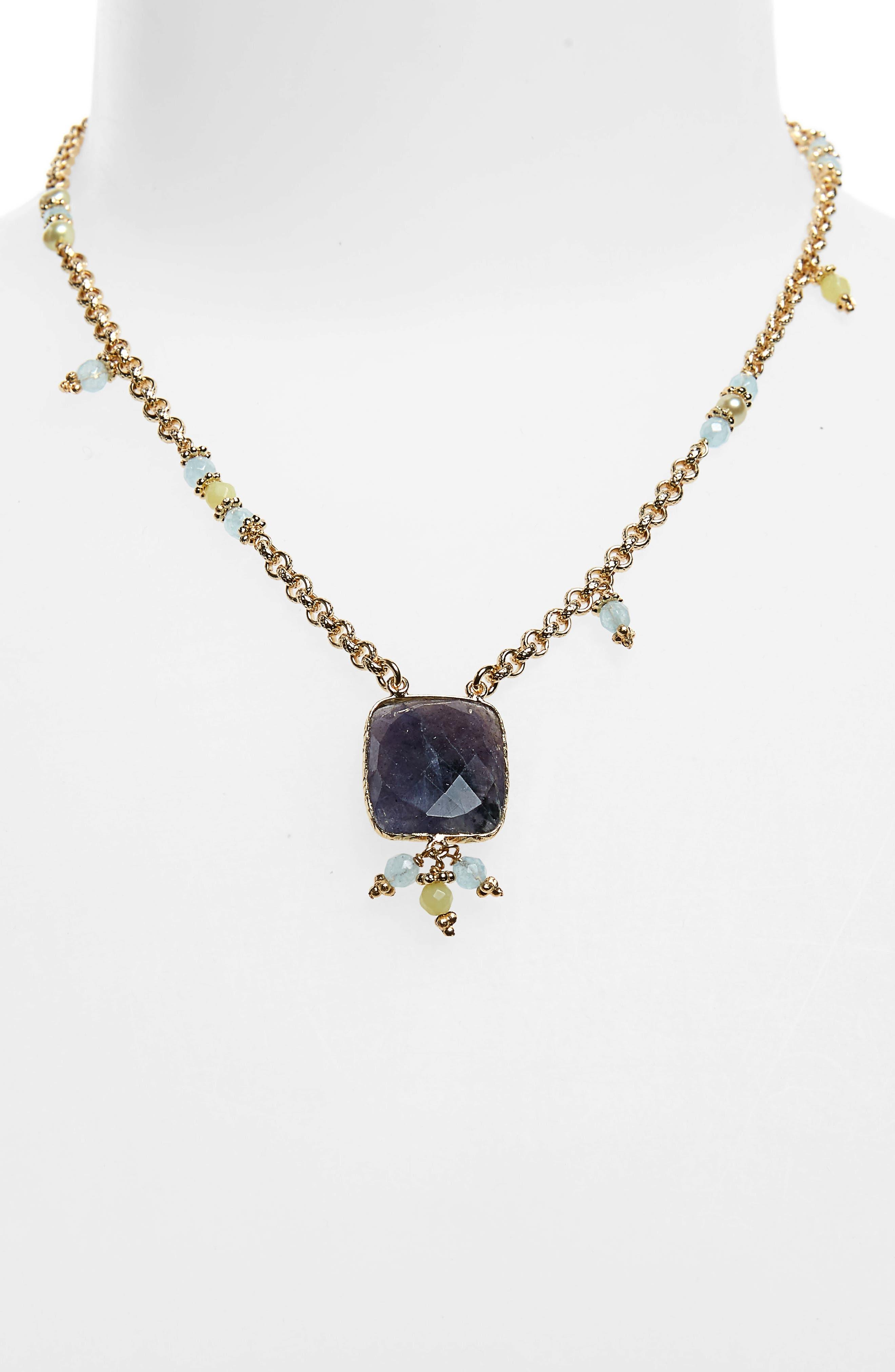 ,                             Serti Jaseron Pendant Necklace,                             Alternate thumbnail 2, color,                             GREEN/ GOLD