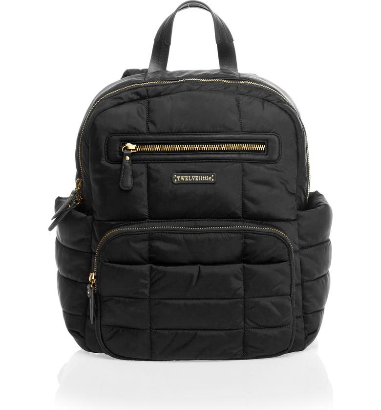 TWELVELITTLE 'Companion Backpack' Quilted Nylon Diaper Bag, Main, color, 001