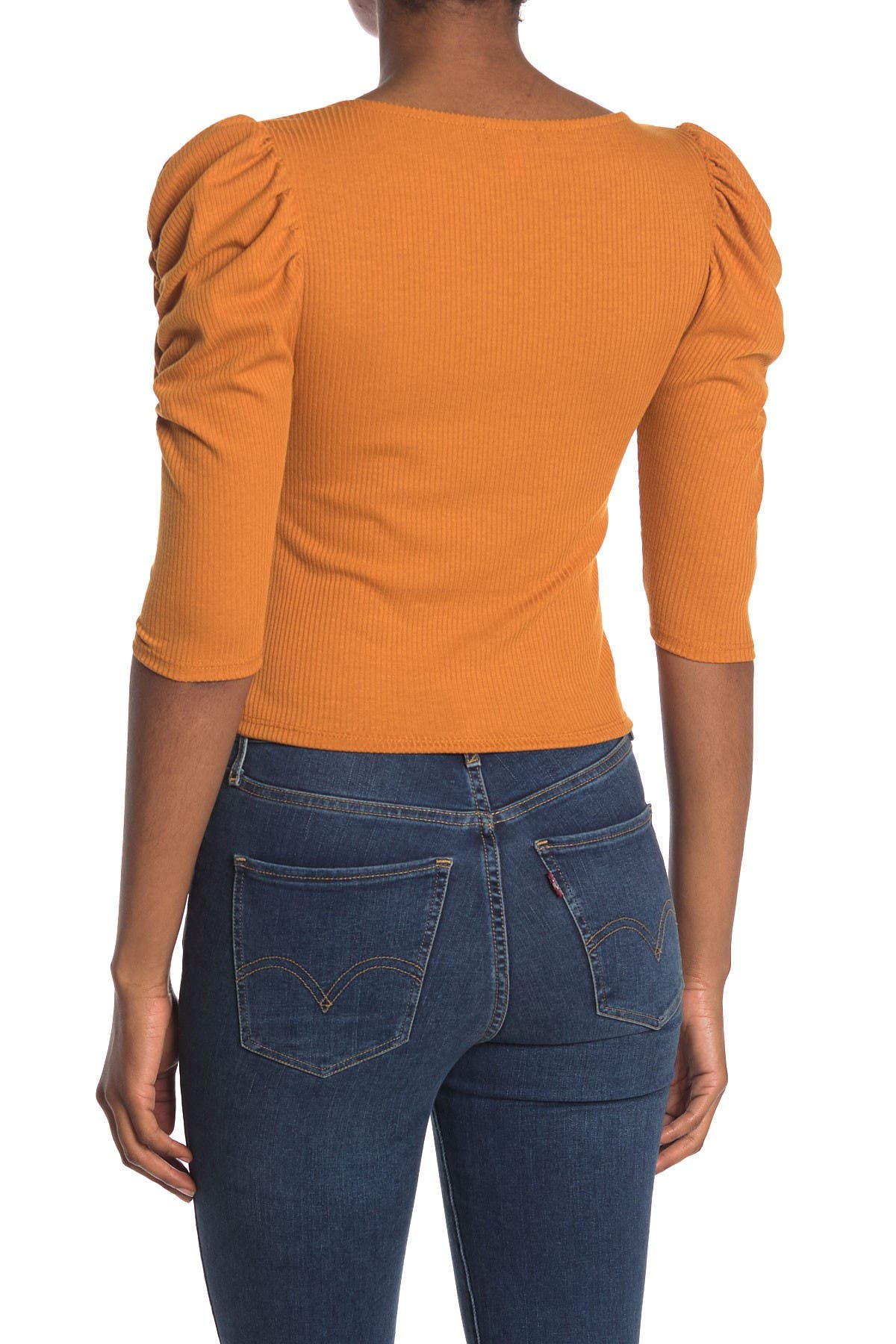 Image of Abound Puffed Ruched Sleeve Ribbed Top