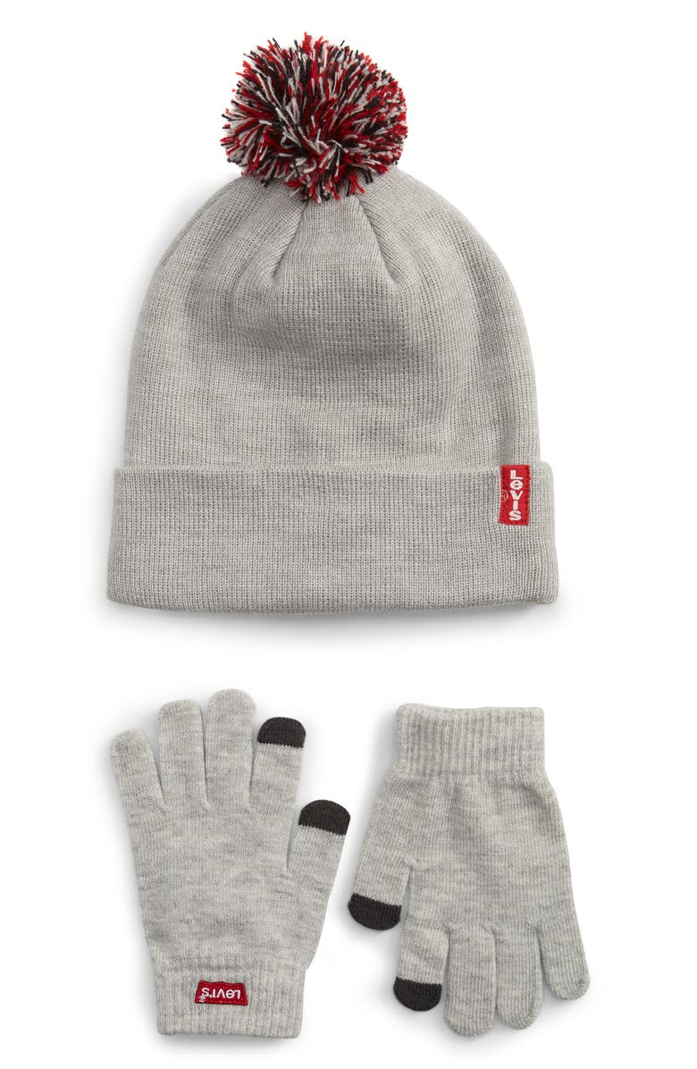 LEVI'S<SUP>®</SUP> Pompom Beanie & Touchscreen Gloves Set, Main, color, LT. GREY HEATHER