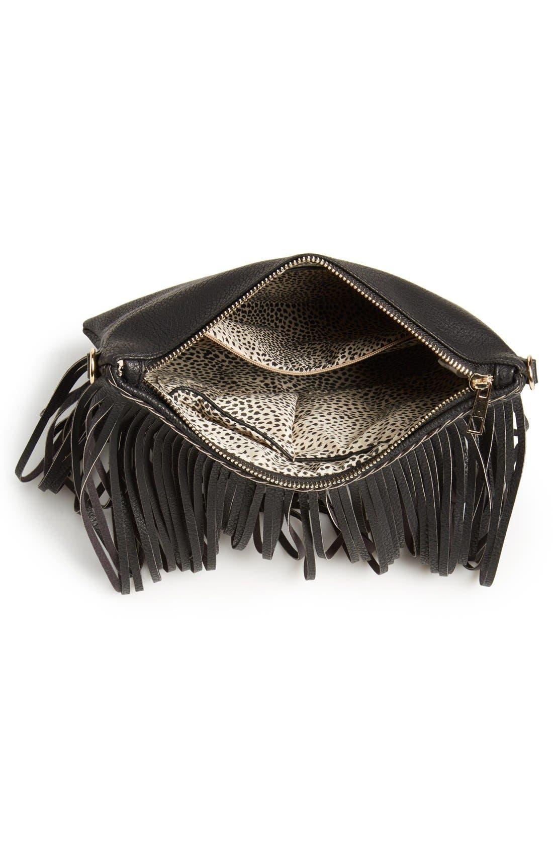 ,                             'Rose' Fringe Faux Leather Convertible Crossbody Bag,                             Alternate thumbnail 4, color,                             001