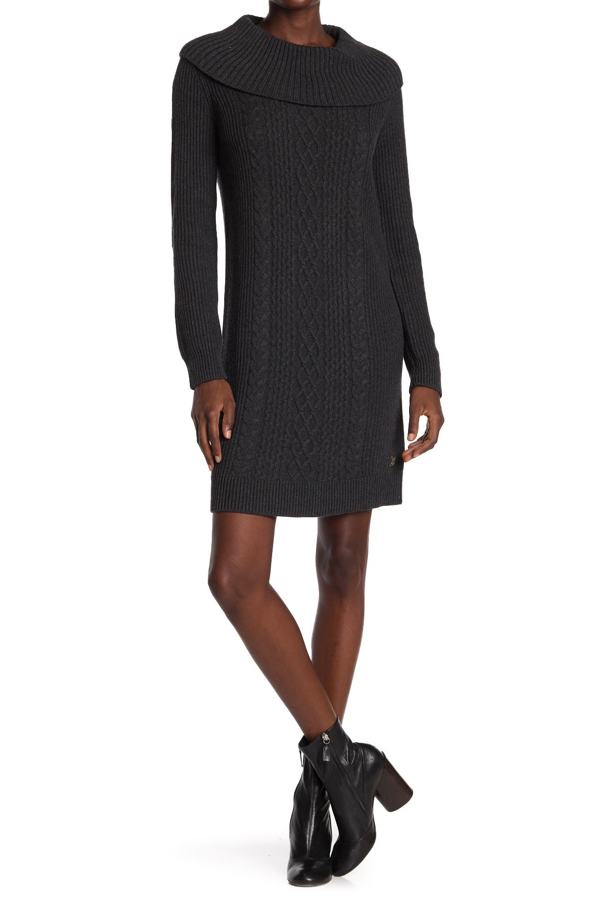 Image of Tommy Hilfiger Cable Knit Cowl Neck Sweater Dress