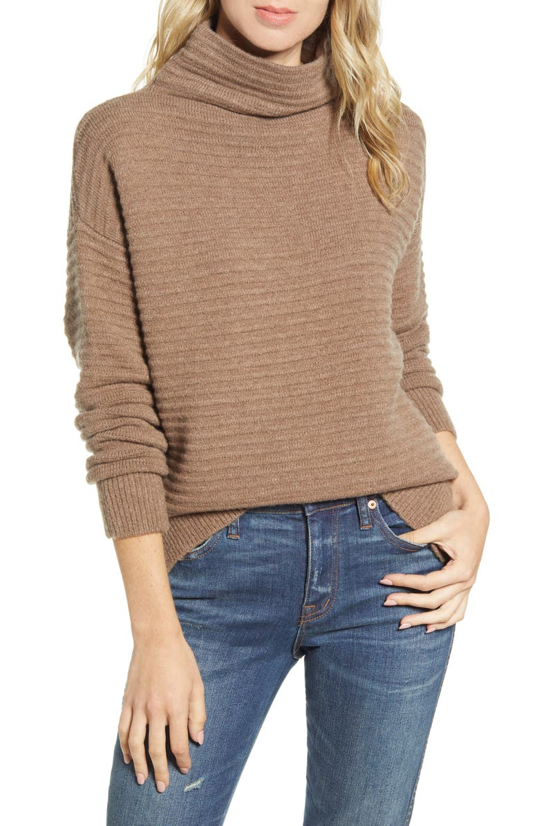 MADEWELL Belmont Mock Neck Sweater, Main, color, HEATHER ROOT