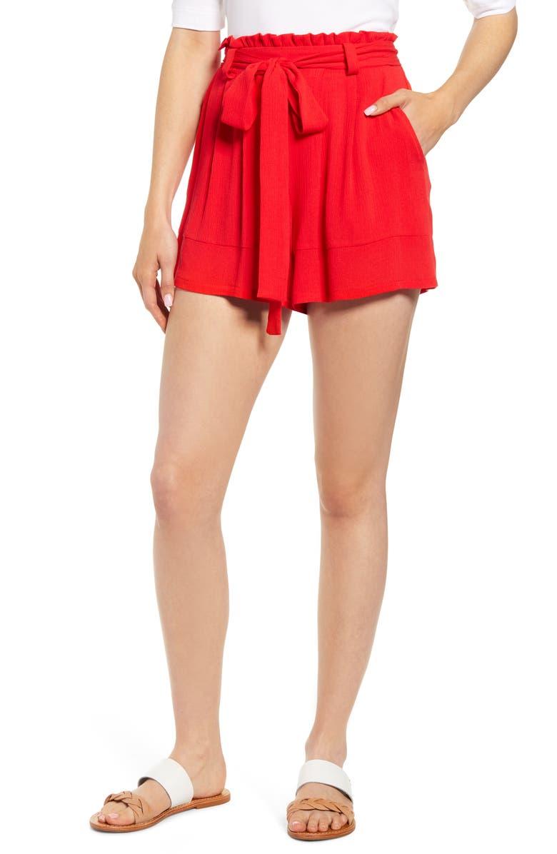 GIBSON x Hi Sugarplum! Menorca Essential Paperbag Shorts, Main, color, 600