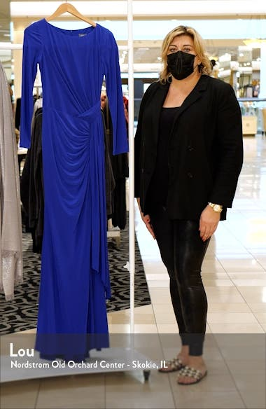 Drape Front Long Sleeve Jersey Gown, sales video thumbnail