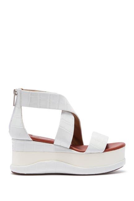 Image of Chloe Wave Croc Embossed Leather Platform Sandal