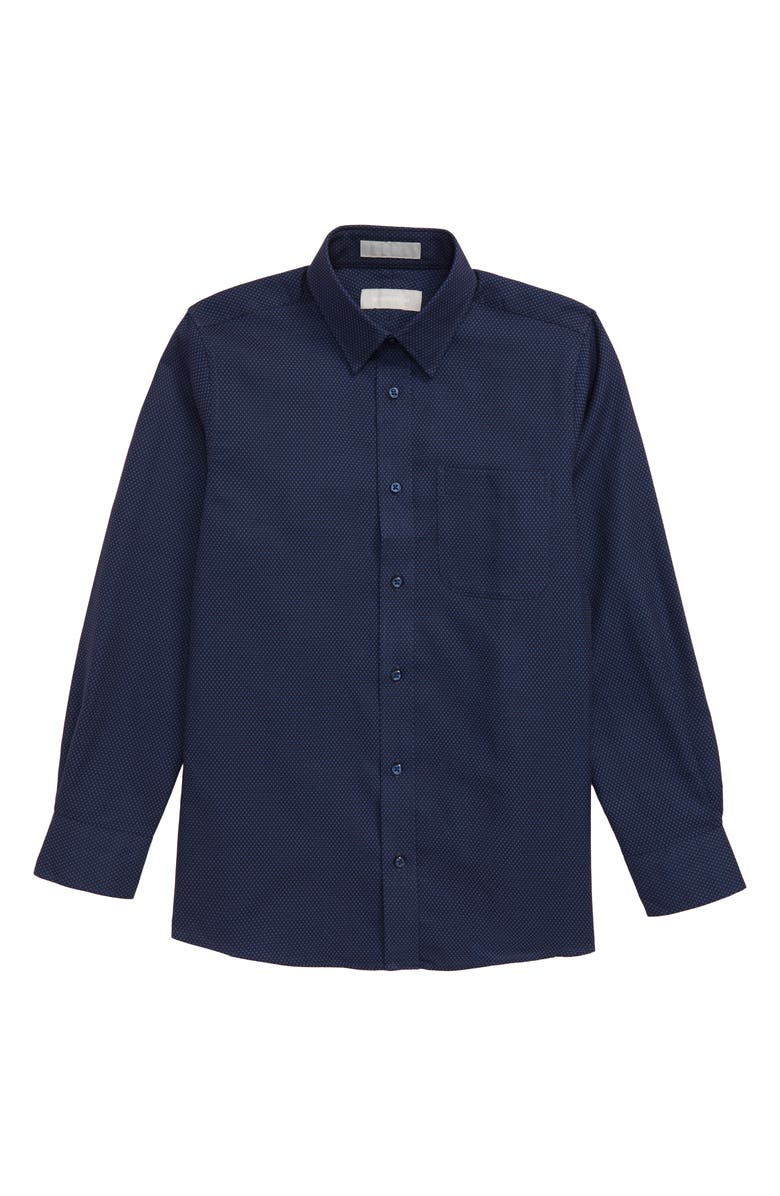 NORDSTROM Mini Tile Button-Up Dress Shirt, Main, color, NAVY PEACOAT SMALL CHECK