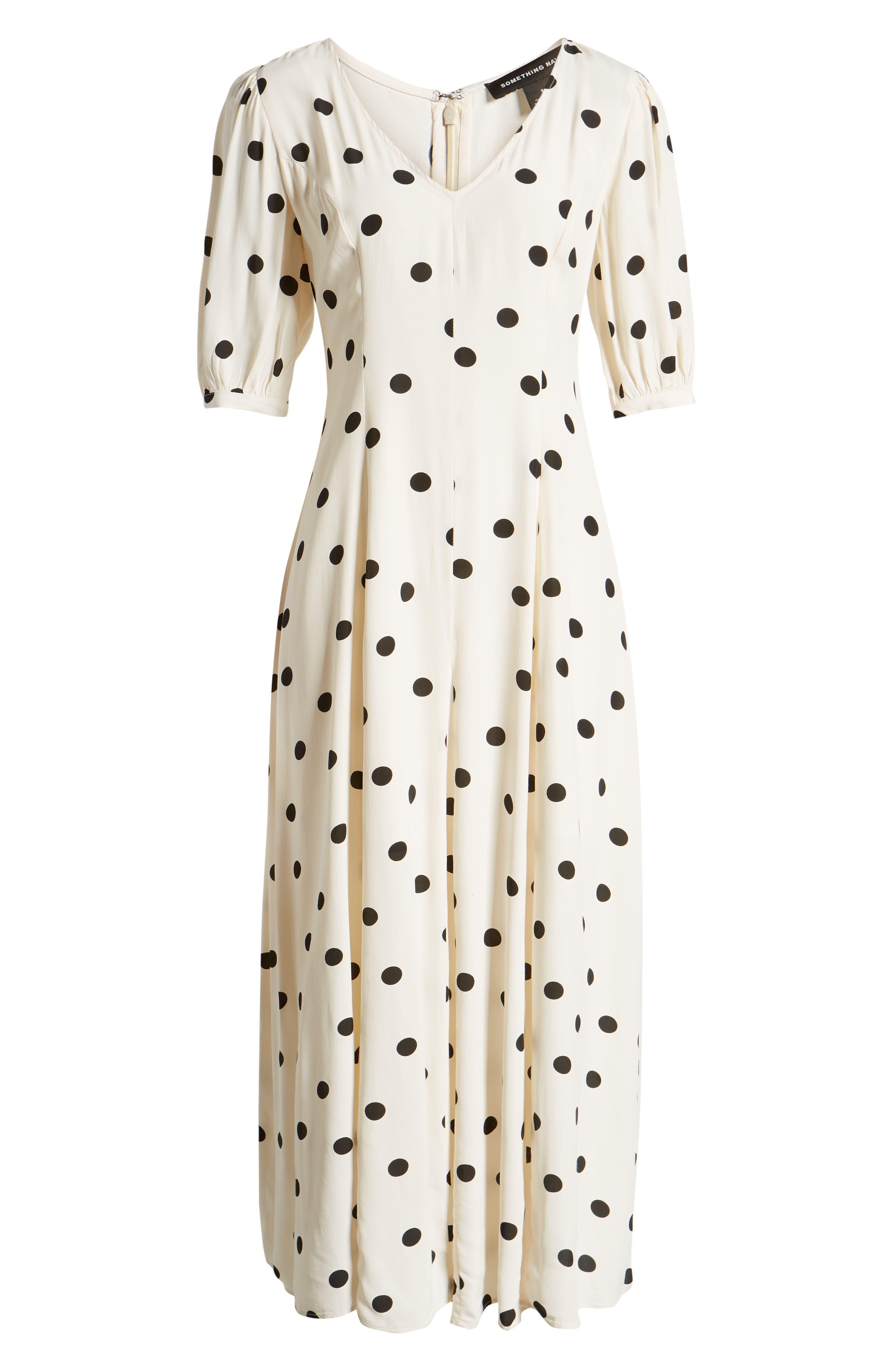 ,                             Print Dress,                             Alternate thumbnail 8, color,                             BEIGE ECRU DOT