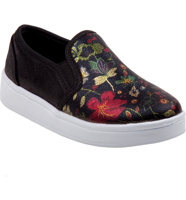 KENSIE GIRL Floral Slip-On Sneaker, Main, color, BLACK