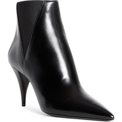 Saint Laurent Kiki Pointed Toe Chelsea Bootie, Black