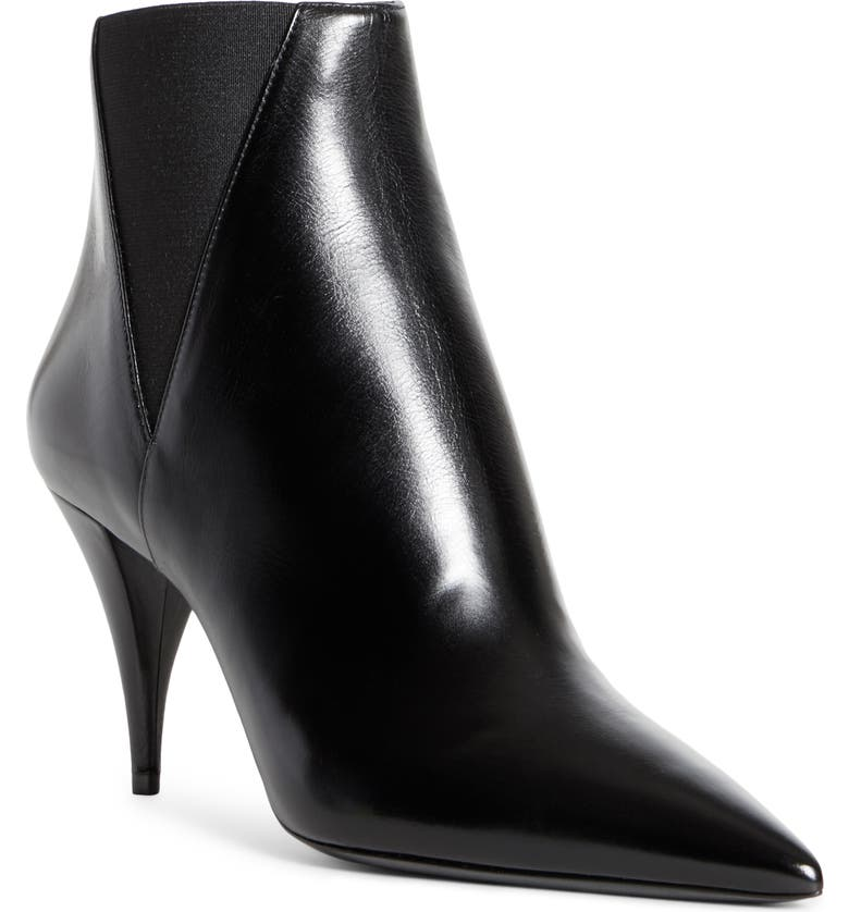 SAINT LAURENT Kiki Pointed Toe Chelsea Bootie, Main, color, BLACK LEATHER