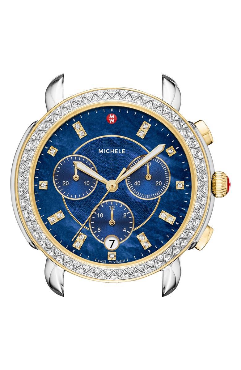 MICHELE Sidney Chrono Diamond Diamond Dial Watch Case, 38mm, Main, color, GOLD/ SILVER/ DEEP BLUE MOP