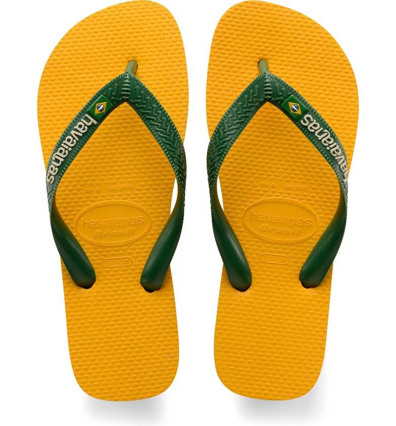 HAVAIANAS Brazil Logo Flip Flop, Main, color, BANANA YELLOW
