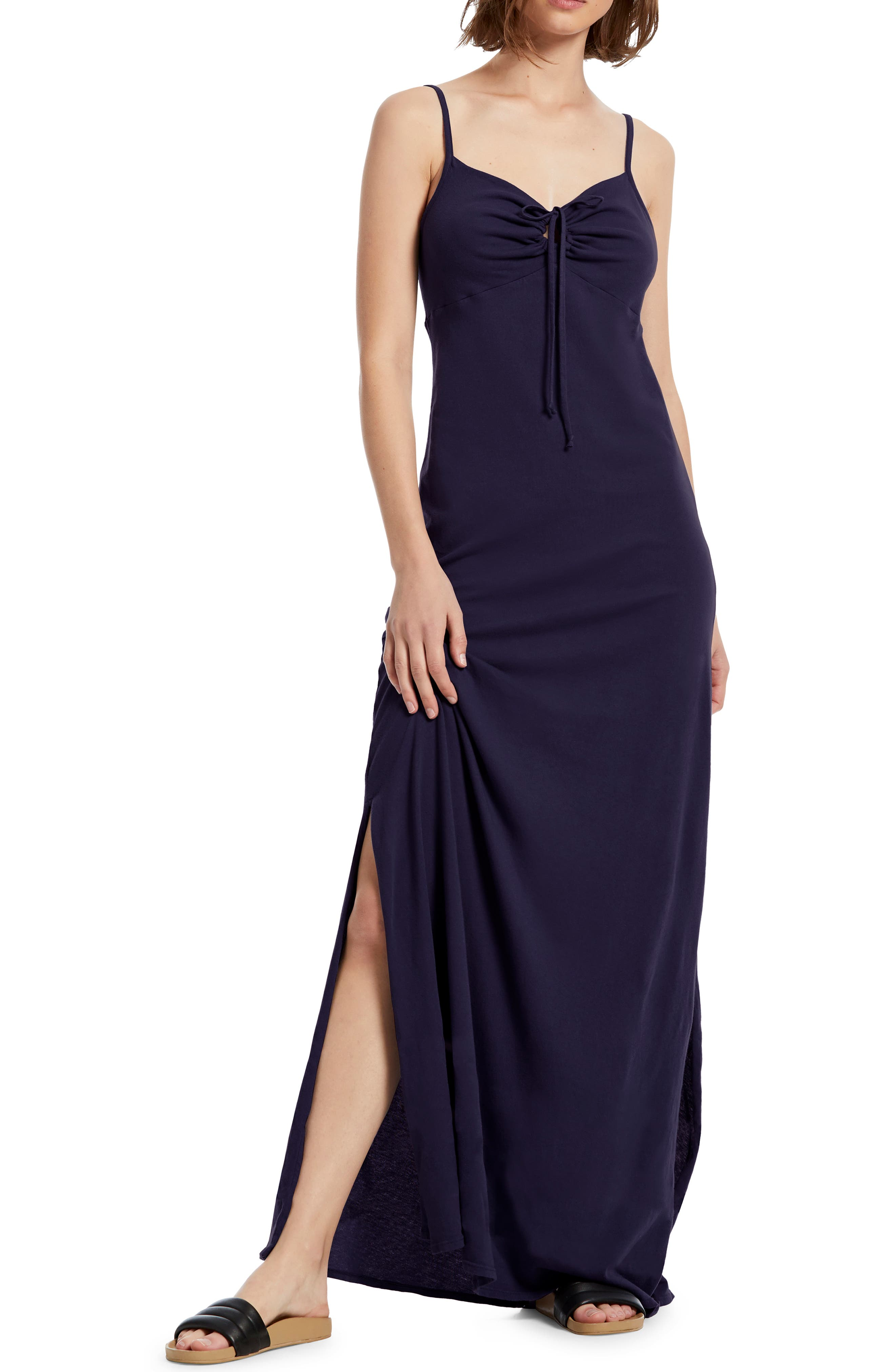 Michael Stars Johanna Side Slit Cotton Maxi Dress, Blue