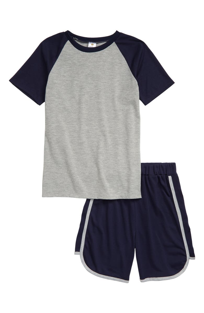 TUCKER + TATE Sporty Short Pajamas, Main, color, GREY MEDIUM HEATHER- NAVY