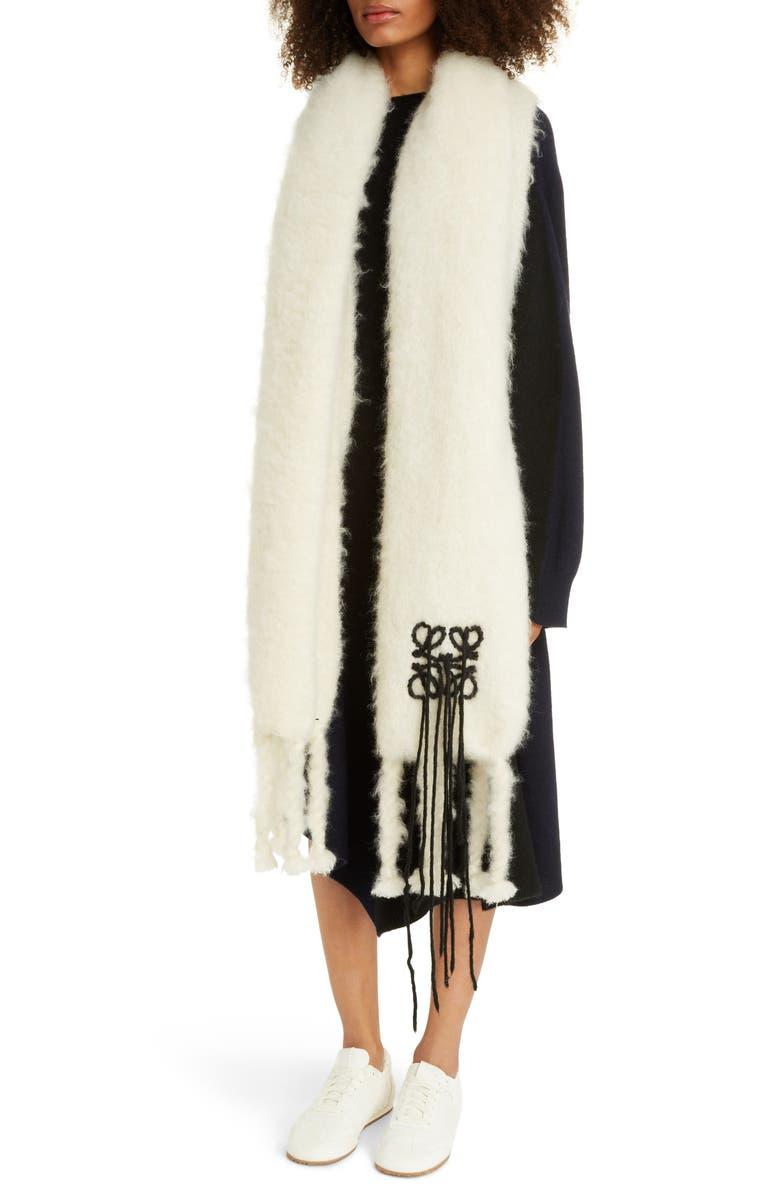 LOEWE Anagram Mohair & Wool Scarf, Main, color, WHITE/ BLACK