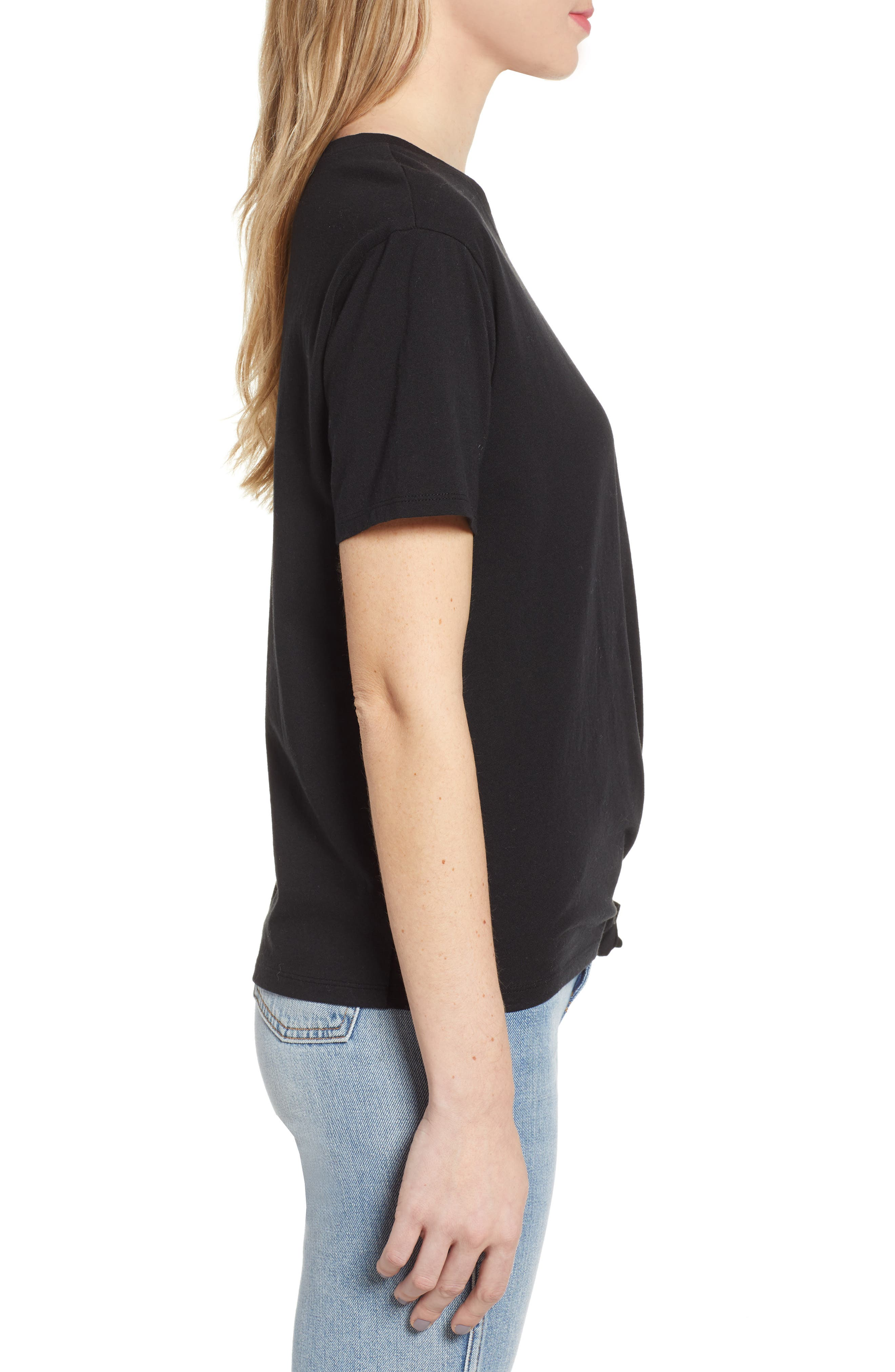 ,                             Knotted Tee,                             Alternate thumbnail 3, color,                             BLACK