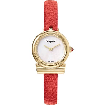 Salvatore Ferragamo Gancino Leather Strap Watch, 22Mm